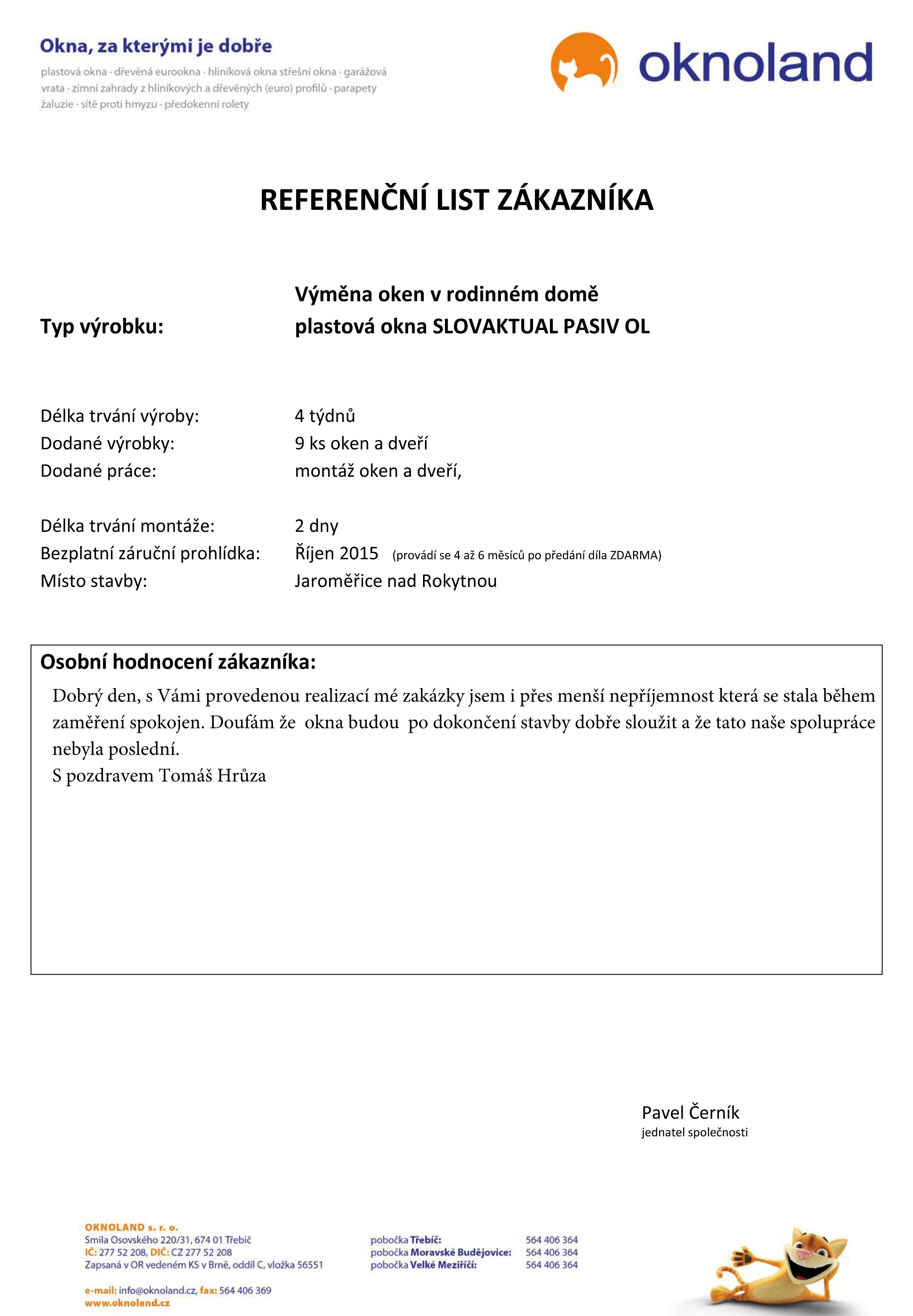referenční list - vzor - hlavičkový papír